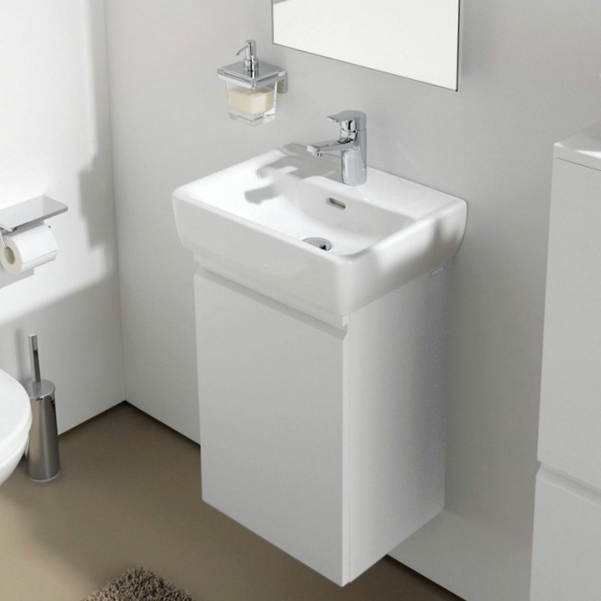 Laufen pro 38cm small vanity unit with basin uk bathrooms for Small baths 1200