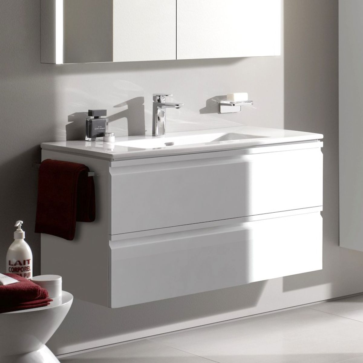 laufen pro s double drawer vanity unit slim basin uk. Black Bedroom Furniture Sets. Home Design Ideas