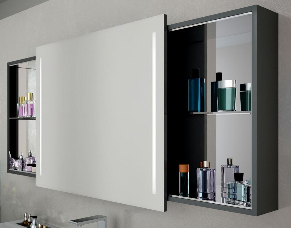 Illuminated Mirrored Bathroom Cabinet Ip44 Rated: Vitra Memoria Illuminated Mirror Cabinet With Sliding Door