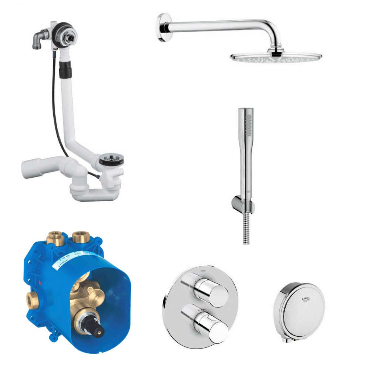Gut bekannt Grohe Grohtherm 3000 Cosmopolitan Bath and Shower Solution Pack 4 MC78