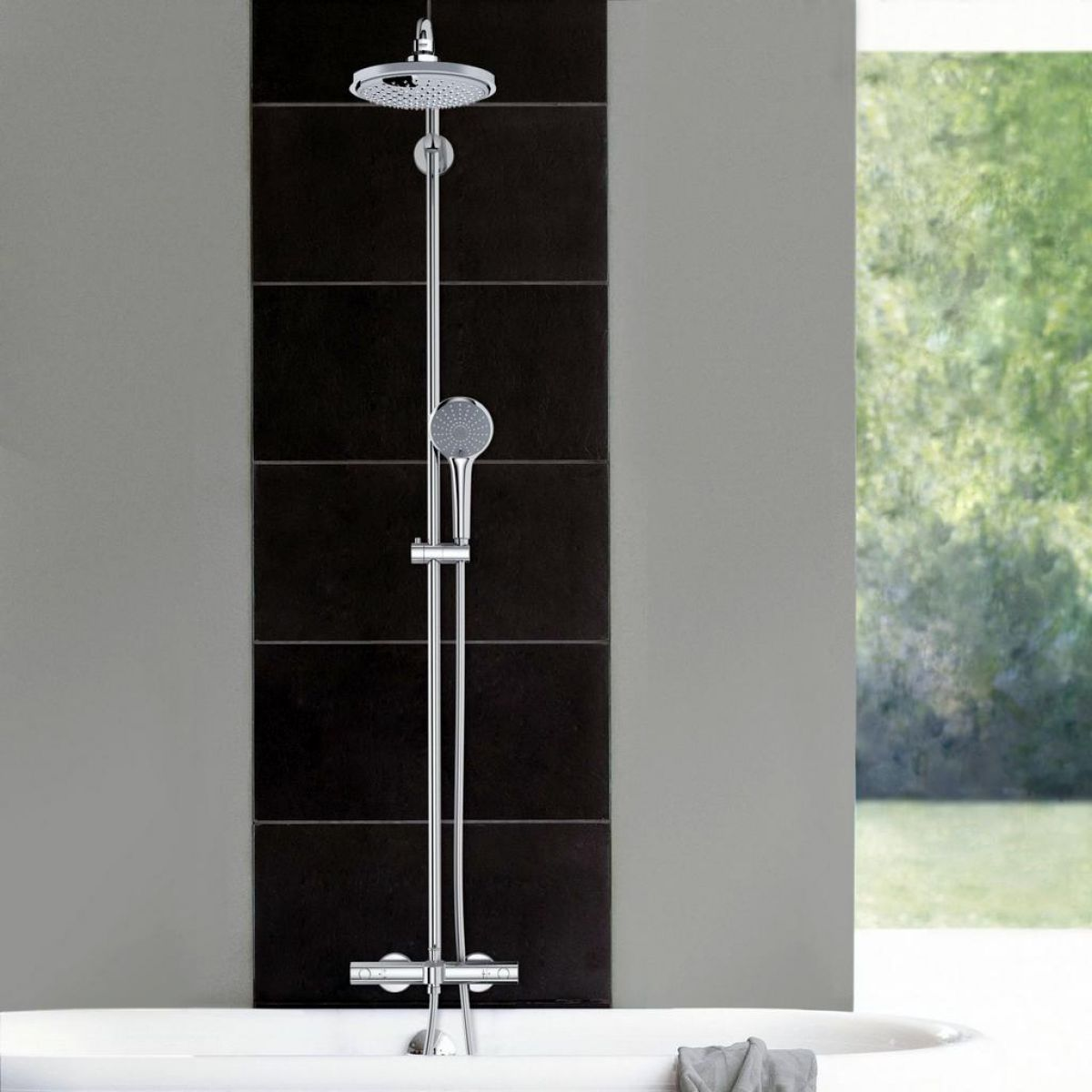 grohe euphoria system 180 thermostatic shower with bath. Black Bedroom Furniture Sets. Home Design Ideas