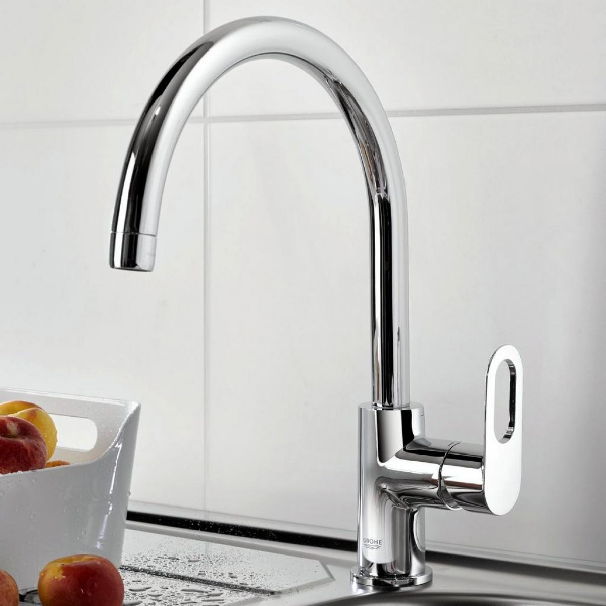 Grohe BauLoop Single-lever Kitchen Sink Mixer Tap : UK Bathrooms