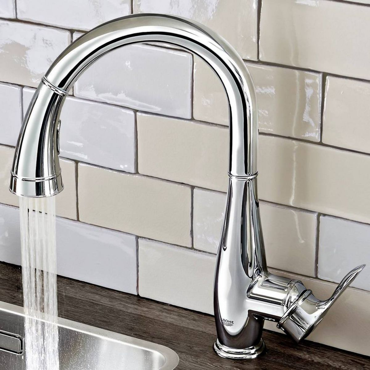 Grohe Parkfield Kitchen Sink Mixer with Pull Out Spray : UK Bathrooms