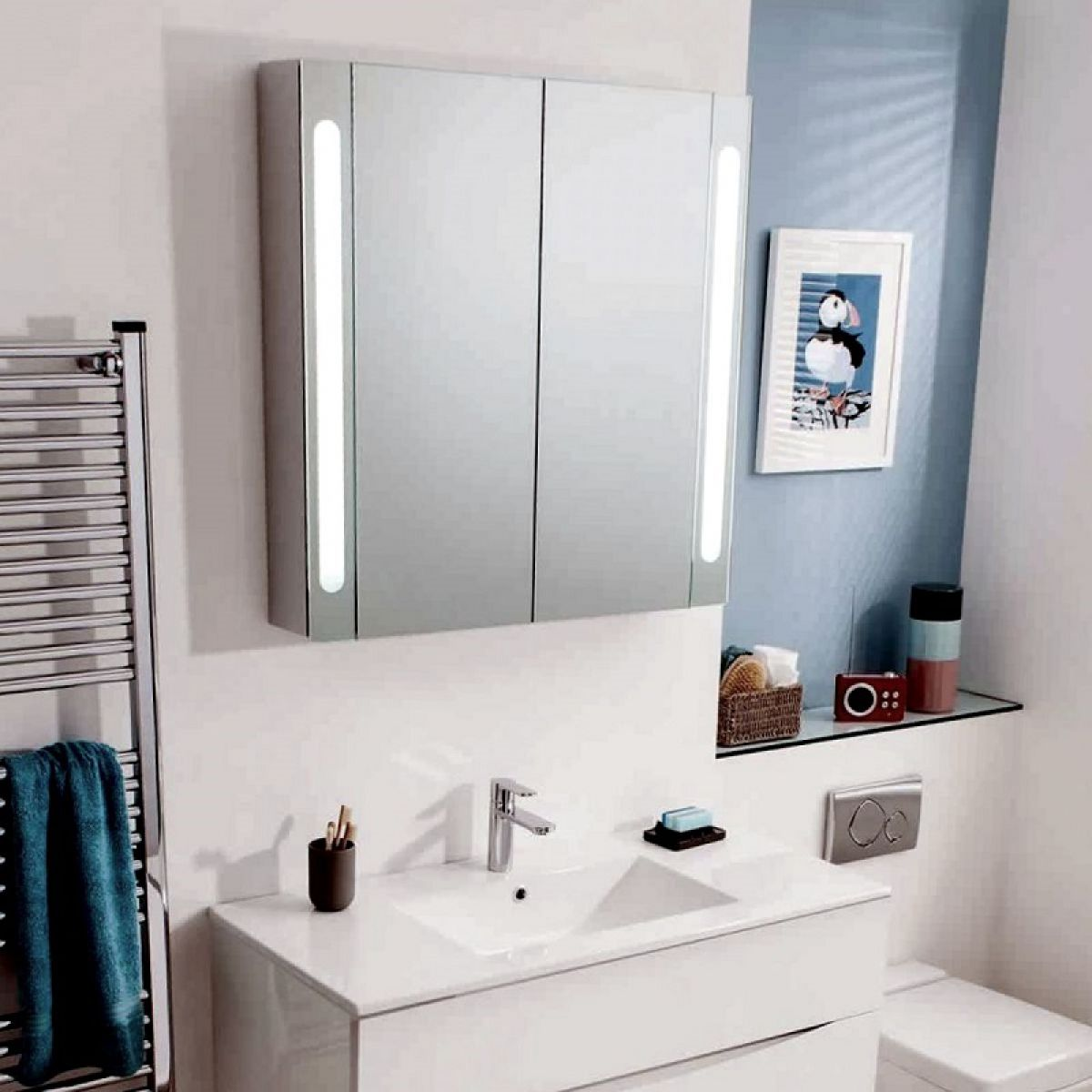Mirrored Cabinet: Bauhaus Mirrored Aluminium Wall Hung Cabinet : UK Bathrooms