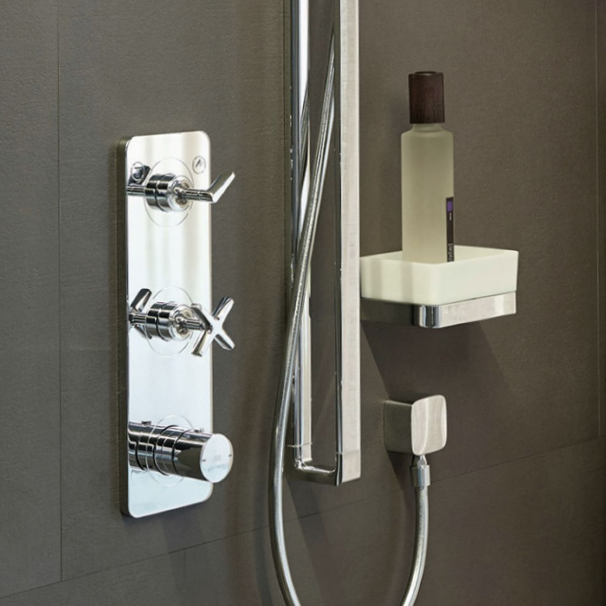 axor citterio e thermostatic shower finish set with 2 outlets uk bathrooms. Black Bedroom Furniture Sets. Home Design Ideas
