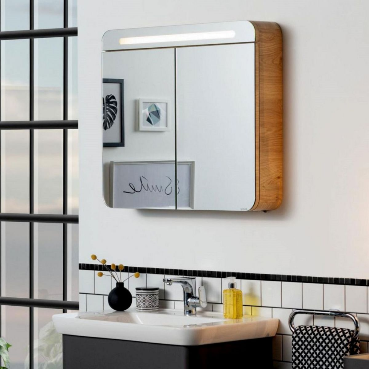 Vitra Sento Illuminated Double Door Mirror Cabinet Uk