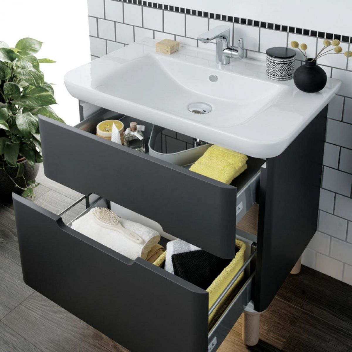 Vitra Sento Vanity Unit with 2 Drawers : UK Bathrooms