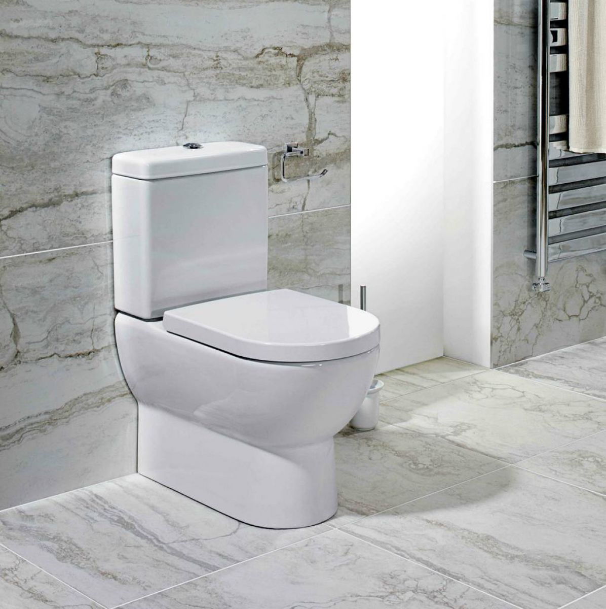 Abacus Simple Flat-to-Wall Close Coupled Toilet : UK Bathrooms