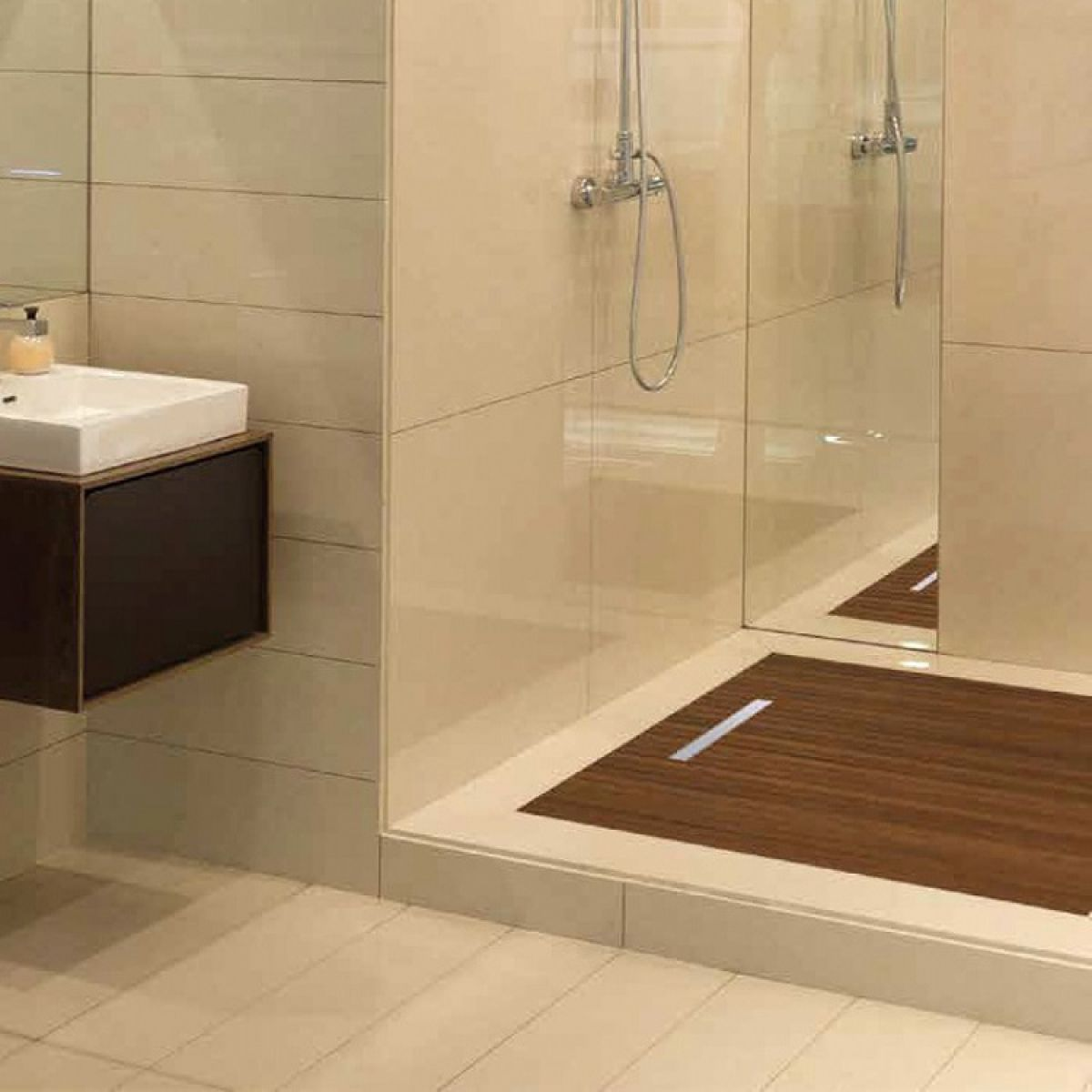 Abacus elements concept raised wetroom kit with linear - Bath shower room ...