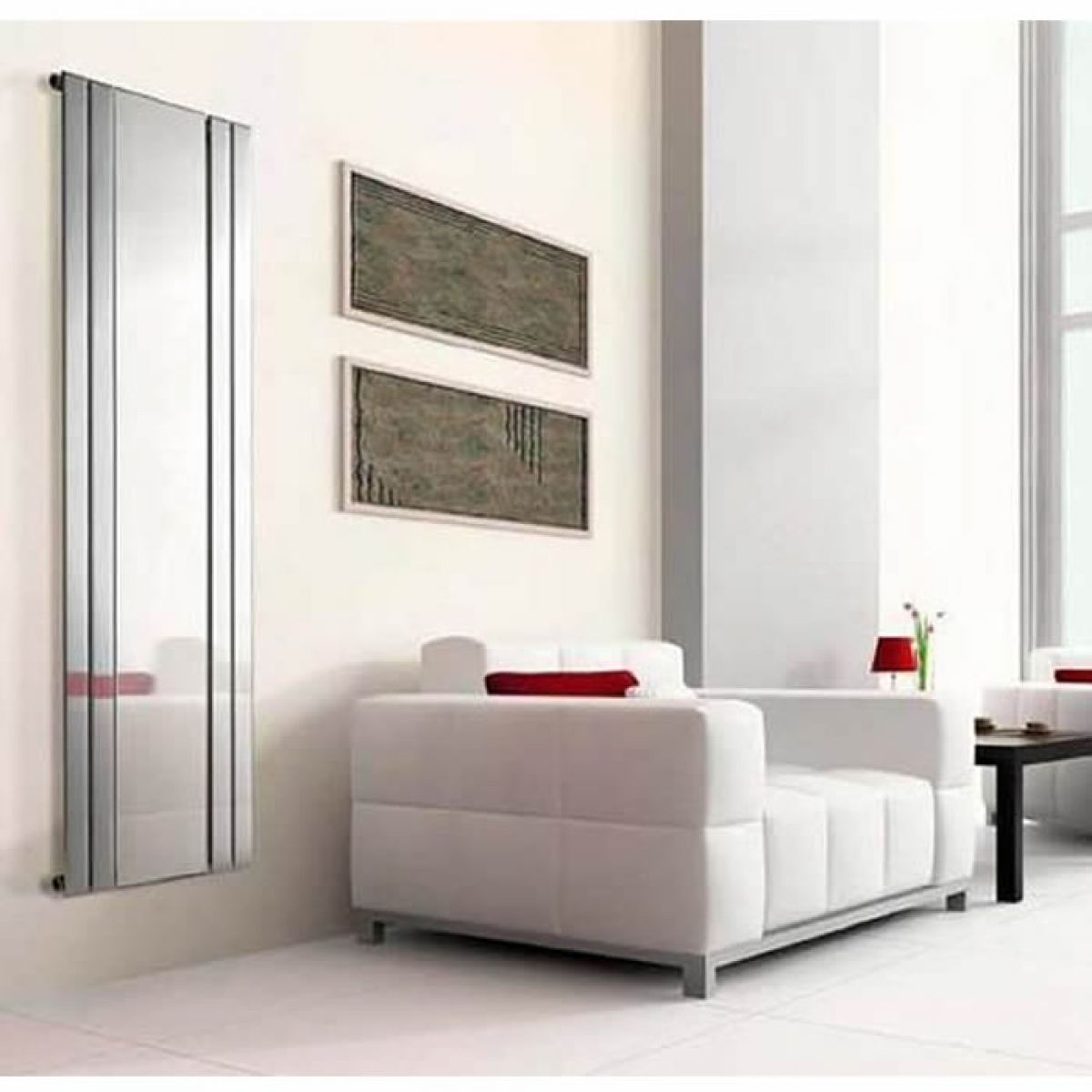 Apollo capri vertical chrome radiator with mirror uk for Mirror radiator