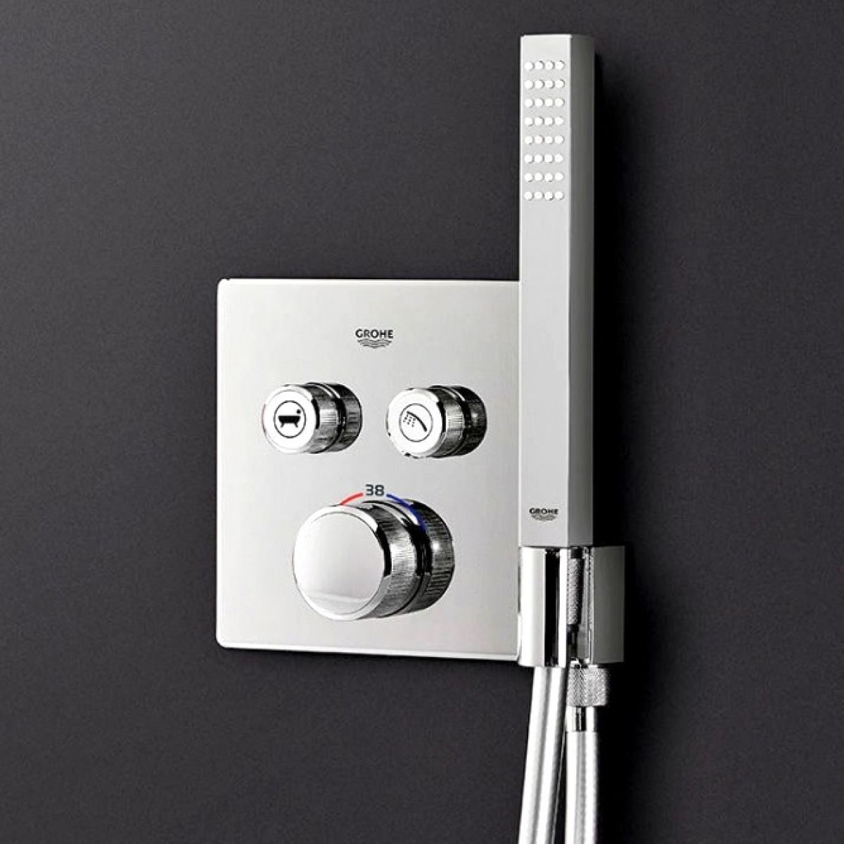 grohe smartcontrol double thermostatic square valve with holder uk bathrooms. Black Bedroom Furniture Sets. Home Design Ideas
