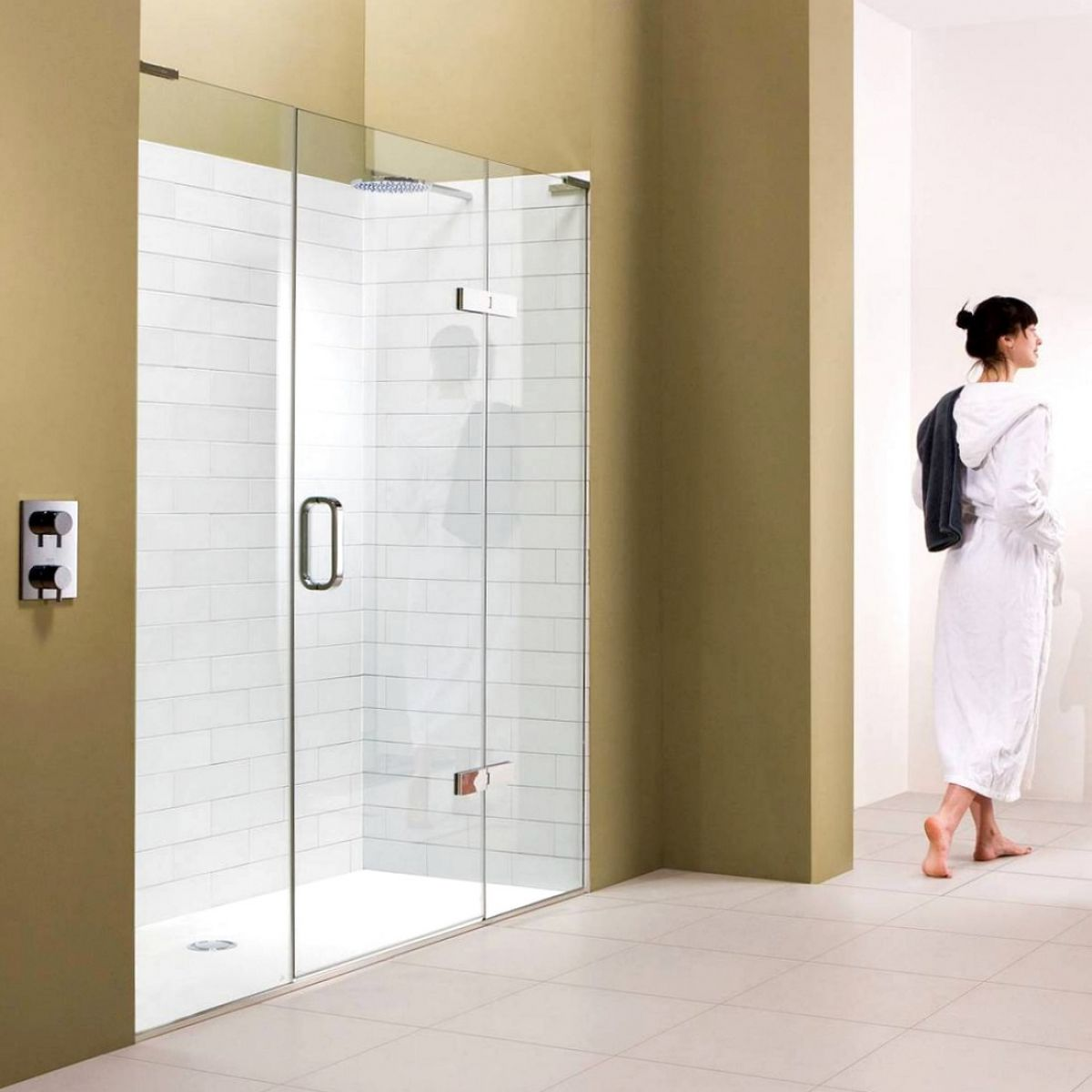 Matki Eauzone Plus Hinged Shower Door With Inline Panel For Recess
