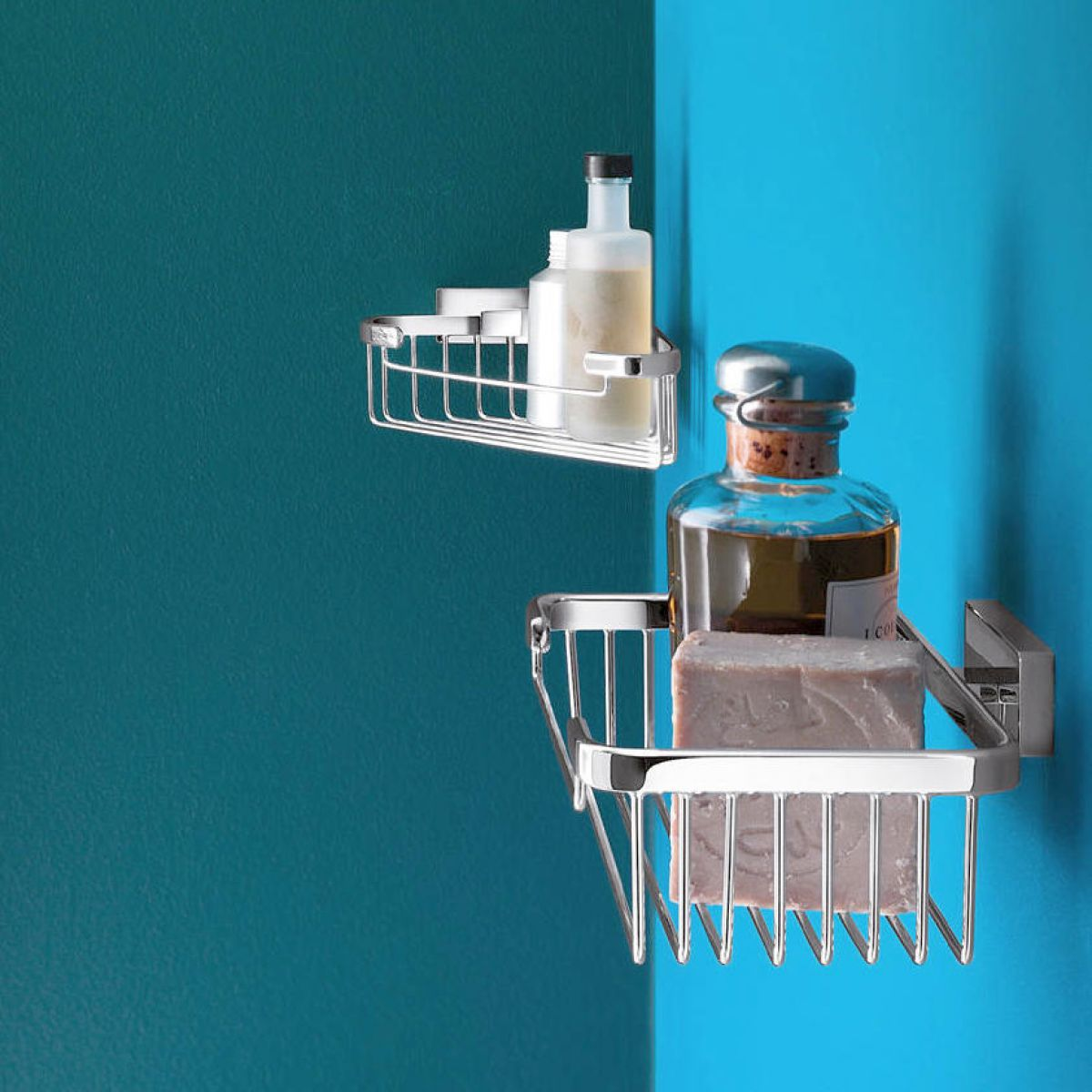Inda Lea Corner Soap and Sponge Wire Basket : UK Bathrooms