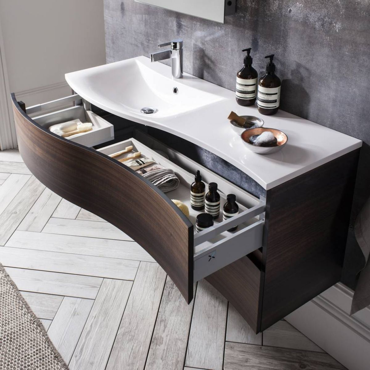 Bauhaus Svelte Vanity Unit With Mineral Marble Basin Uk