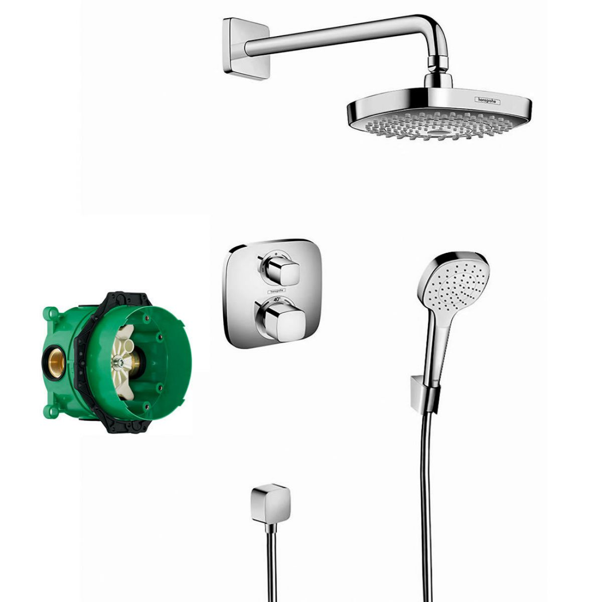 hansgrohe design croma select e with ecostat 2 head pack uk bathrooms. Black Bedroom Furniture Sets. Home Design Ideas