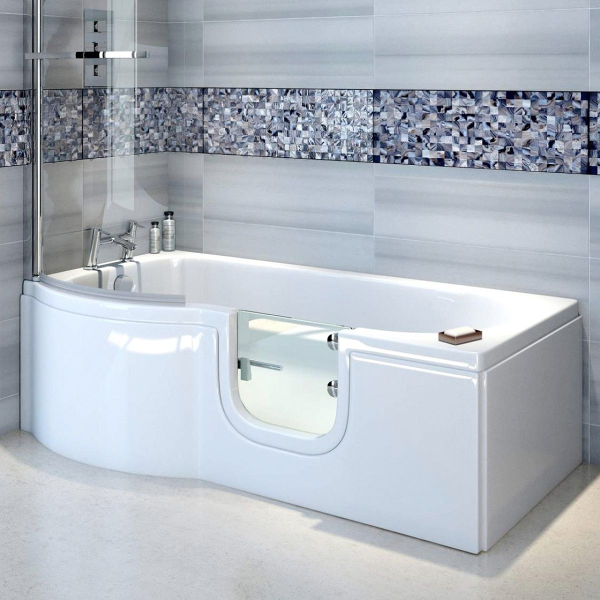 Bathe Easy Concert P Shaped Shower Bath : UK Bathrooms