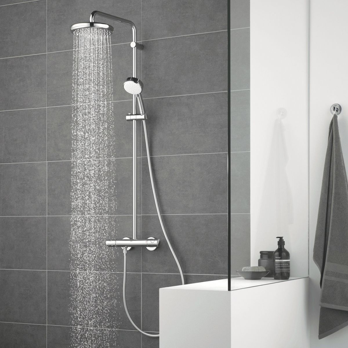 Grohe Tempesta Cosmopolitan 210 Shower Mixer with Drench Head and Handshower