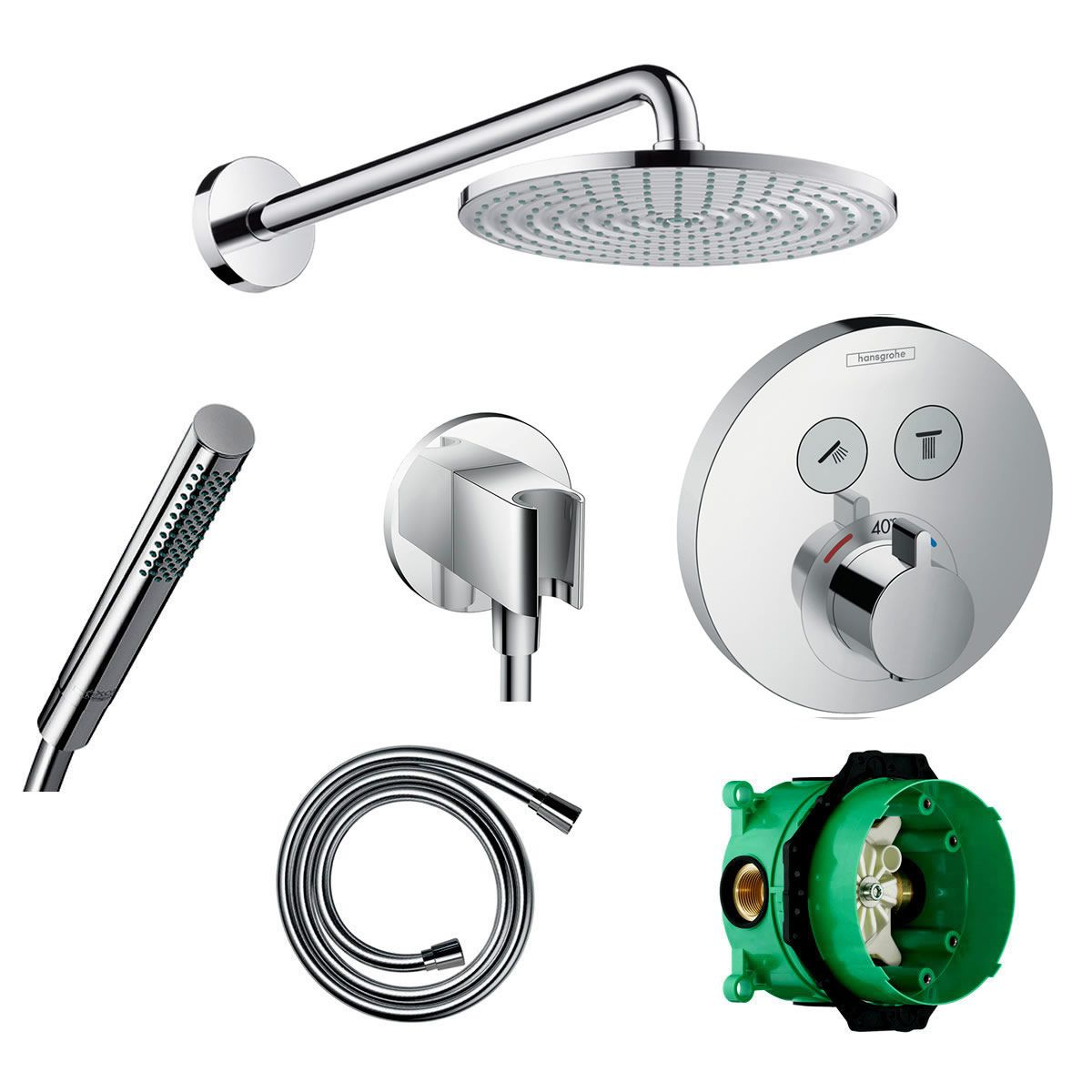 Hansgrohe Round Select Valve with Raindance 240 Overhead Shower and Axor Hand shower - 88101013