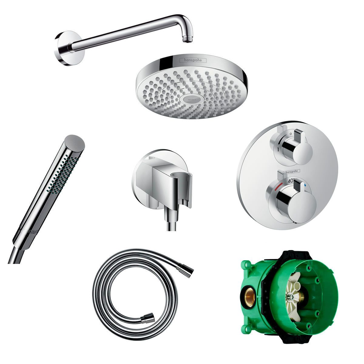 Hansgrohe Round Ecostat S Valve with Croma Select 180 Overhead ...