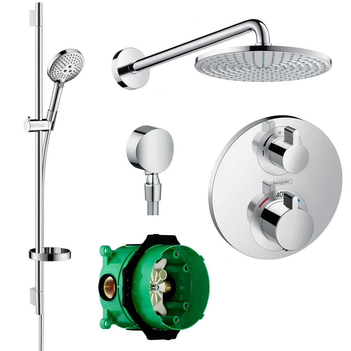 Hansgrohe Round Ecostat Valve With Raindance 240 Overhead Shower And Select 120 Rail Kit