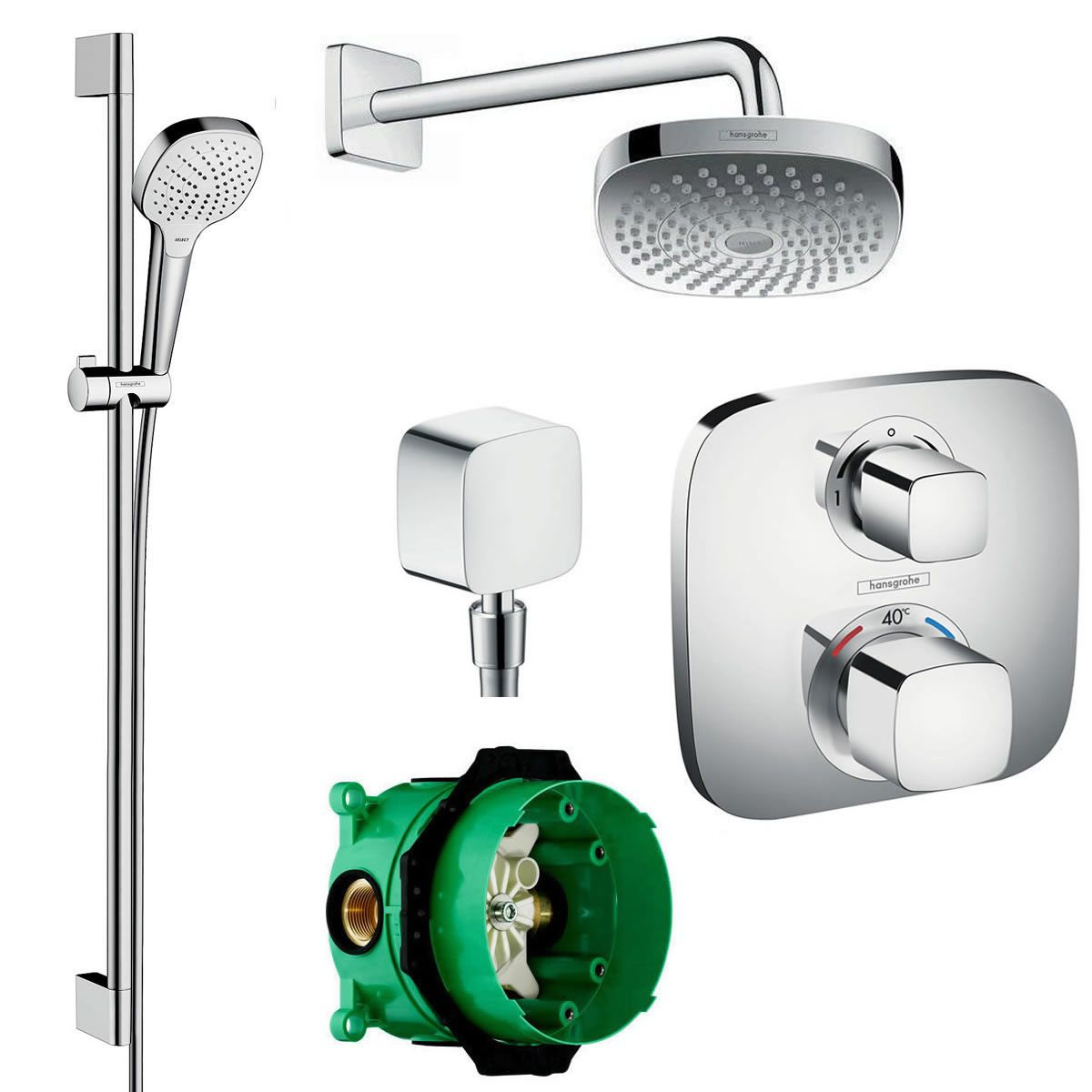 hansgrohe soft cube ecostat e valve with croma select 180 overhead shower and select e rail kit. Black Bedroom Furniture Sets. Home Design Ideas