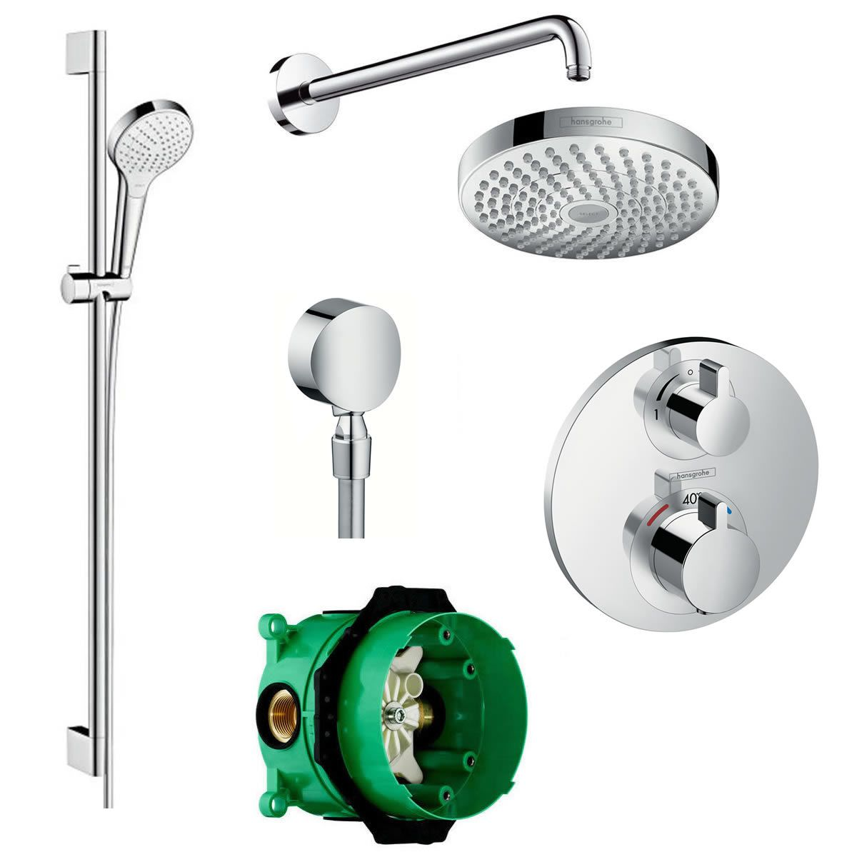 Hansgrohe Round Ecostat Valve With Raindance 180 Overhead Shower And Croma Select Rail Kit