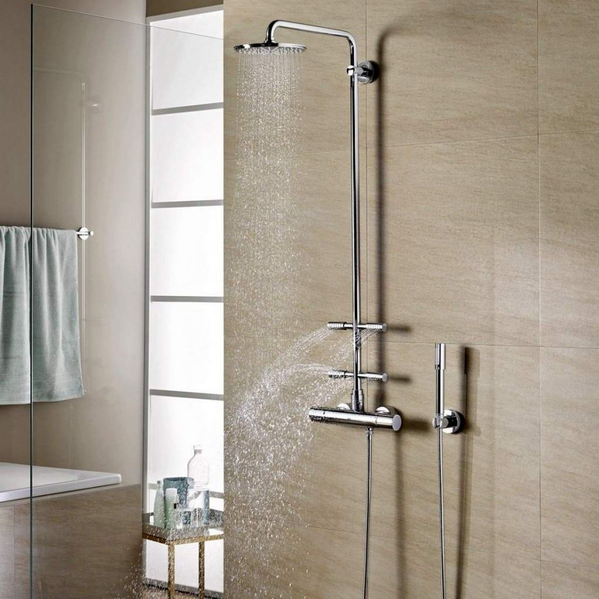 Grohe Rainshower System 210 With Thermostatic Valve And Side Showers