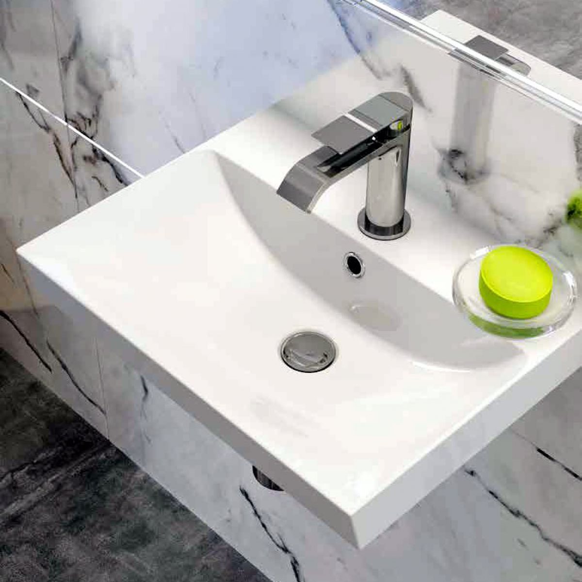 image example of a wall hung bathroom sink