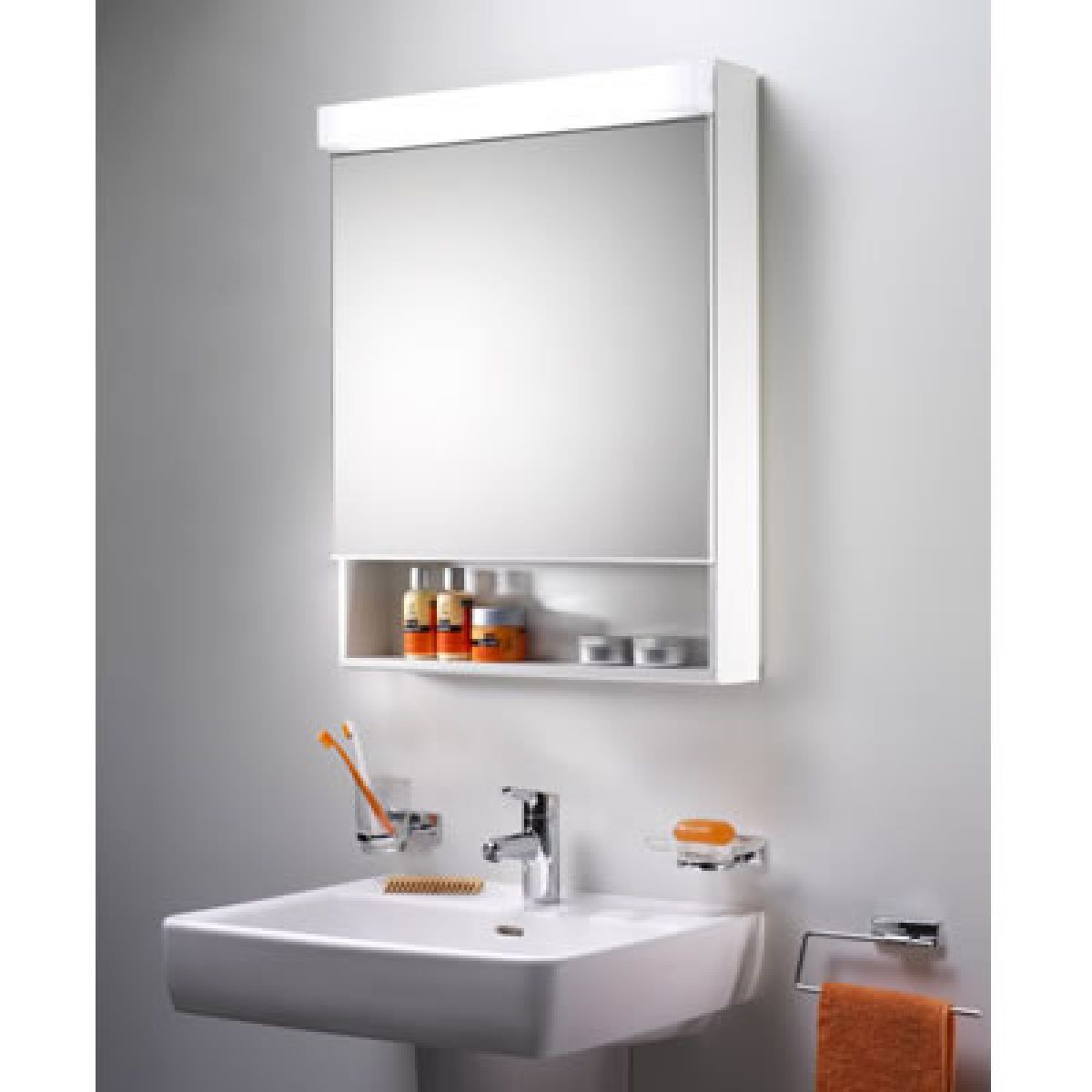 schneider lowline 1 door mirror cabinet with fluorescent light uk