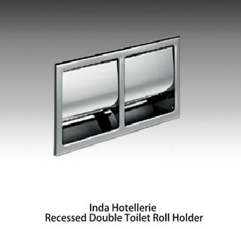 Inda hotellerie double recessed toilet roll holder uk bathrooms - Recessed toilet roll holder ceramic ...