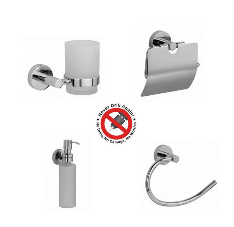 Never drill again bathroom accessories - Never Drill Again Hoom 4 Piece Bathroom Accessory Package
