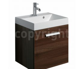 Bauhaus Design Walnut 50 Wall Hung Single Door Unit & Basin