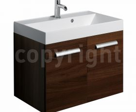 Bauhaus Design Walnut 70 Wall Hung Two Door Unit & Basin