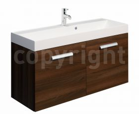 Bauhaus Design Walnut 100 Wall Hung Two Door Unit & Basin