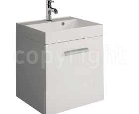 Bauhaus Design White 50 Wall Hung Single Door Unit & Basin
