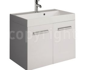 Bauhaus Design White 70 Wall Hung Two Door Unit & Basin