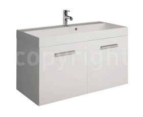 Bauhaus Design White 100 Wall Hung Two Door Unit & Basin