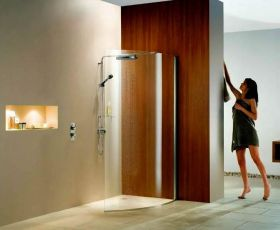 Matki Curved Wet Room Shower Panel with Deluge Pack