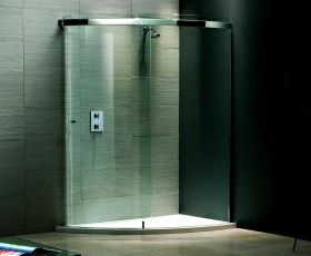 Matki Classica Stainless Steel Curved Corner Sliding Shower Enclosure