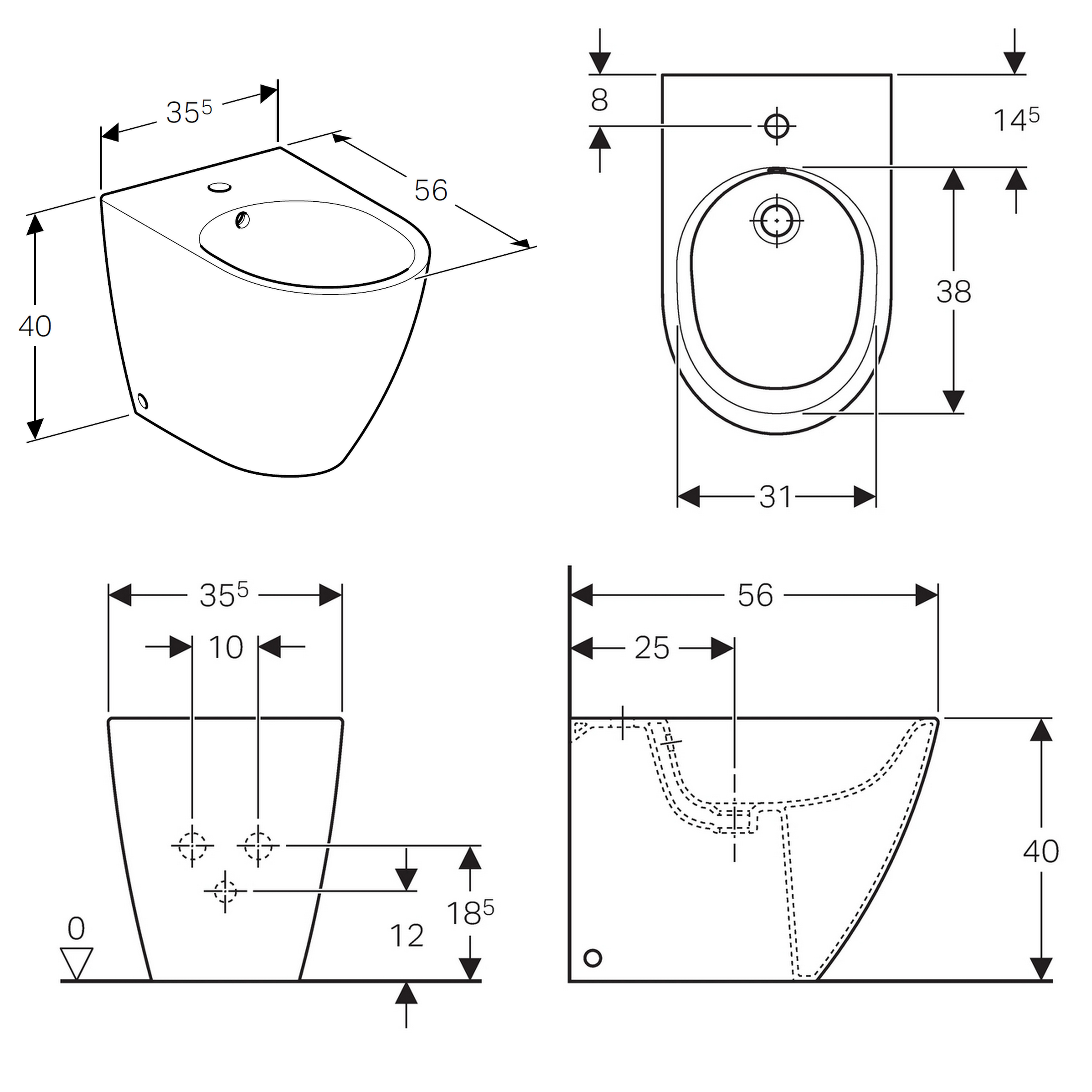 geberit icon floor standing bidet uk bathrooms. Black Bedroom Furniture Sets. Home Design Ideas