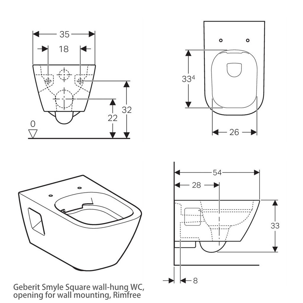 Geberit Smyle Square Rimfree Wall Hung Toilet Uk Bathrooms