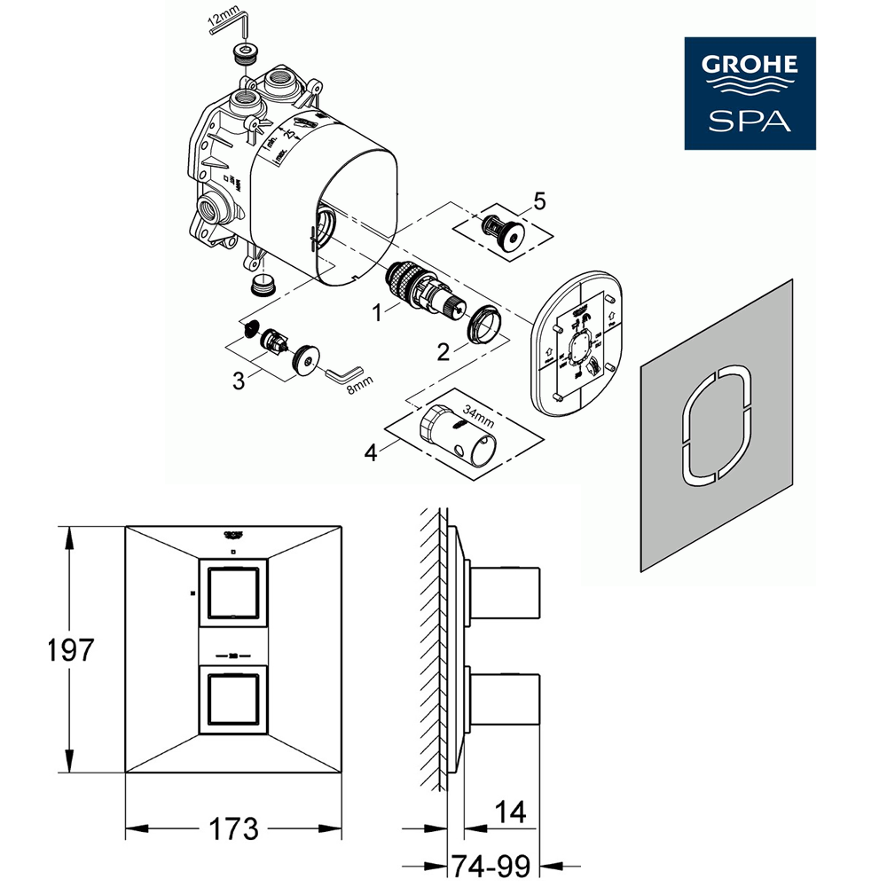 grohe allure brilliant concealed thermostatic shower mixer. Black Bedroom Furniture Sets. Home Design Ideas