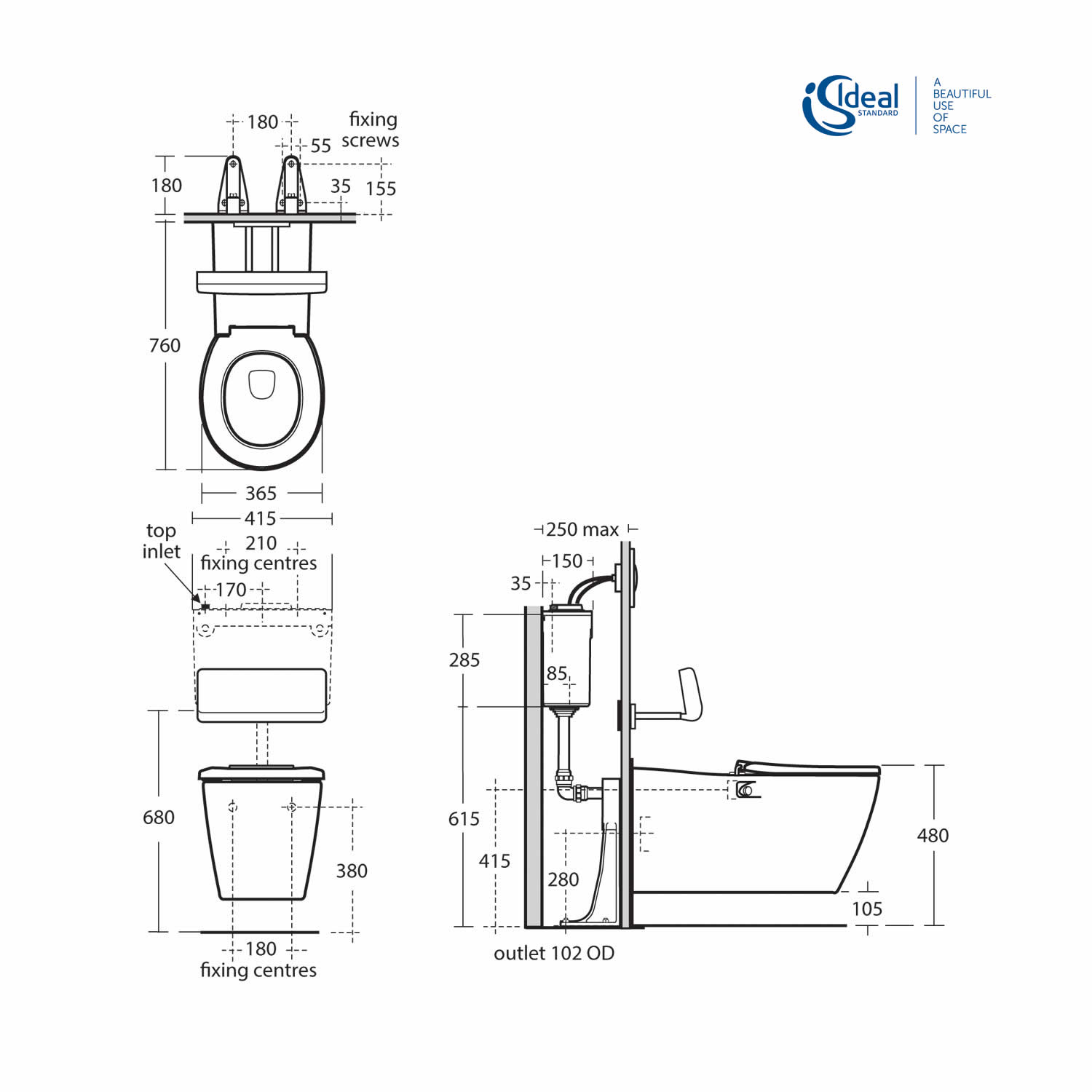 Ideal Standard Concept Freedom Wall Hung Extended Rimless