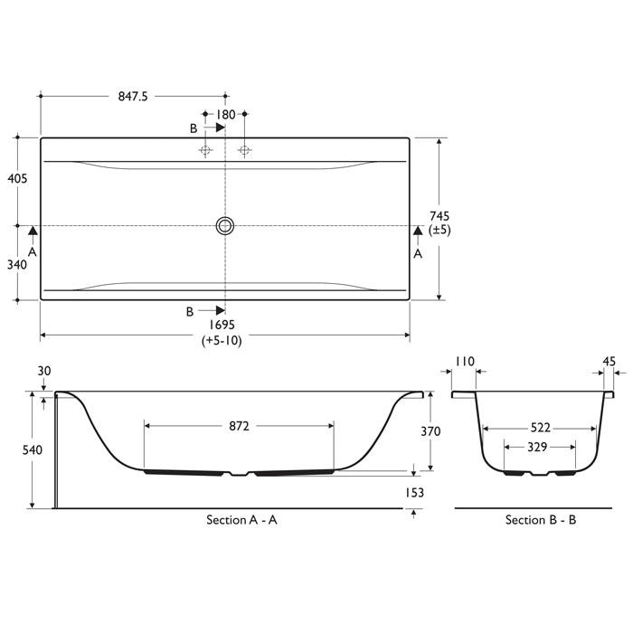 ideal standard concept idealform double ended bath uk bathrooms. Black Bedroom Furniture Sets. Home Design Ideas