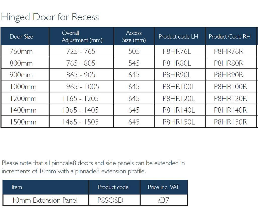 Kudos Pinnacle 8 Hinged Shower Door For Recess Uk Bathrooms