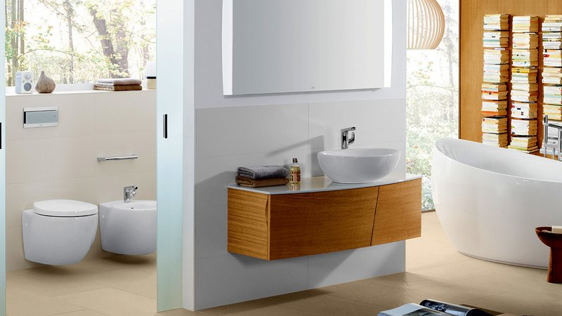 Featured in the image above: Villeroy and Boch Aveo Toilet & Bidet, Villeroy & Boch Aveo Vanity Unit & Basin And the Villeroy and Boch Aveo Bath .