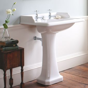 Burlington Classic Square 65cm Basin Integrated Waste Design