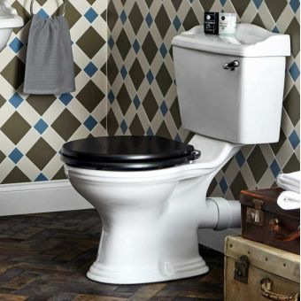 Bayswater Porchester Close Coupled Toilet with White Lever Flush - BAYC106