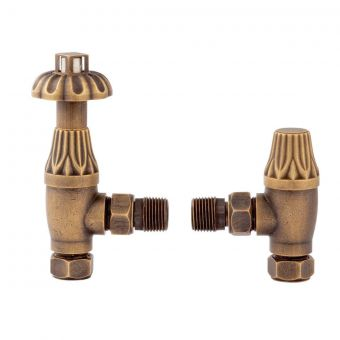 Bayswater Angled Thermostatic Fluted Head Radiator Valves