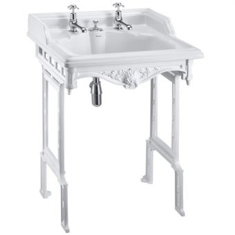 Burlington Classic Square 65cm Basin with Integrated Waste Design and Aluminium Washstand